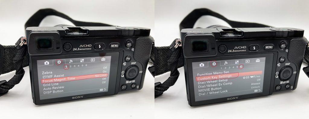 Settings for focus magnifier & custom keys.