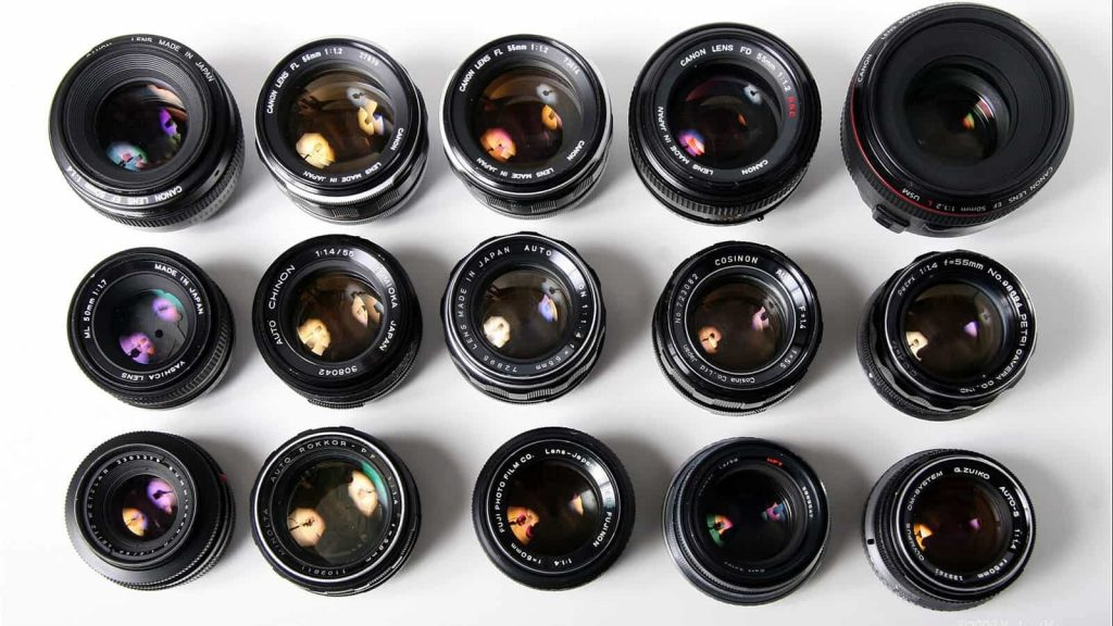 A collection of manual focus lenses. Image Credit: LensBubbles